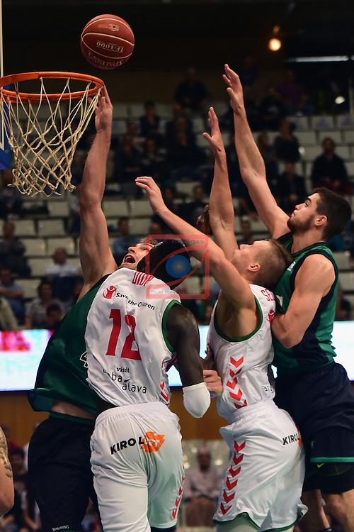 League ACB-ENDESA 2016/2017. Game: 5.<br /> Divina Seguros Joventut vs Baskonia: 83-90.<br /> Garrett Stutz, Ilimane Diop, Kim Tillie &amp; Alberto Abalde.
