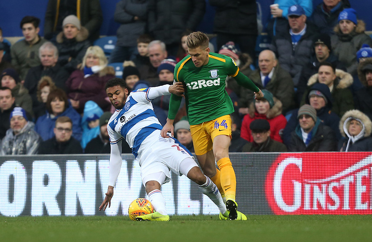 Preston North End's Brad Potts and Queens Park Rangers' Darnell Furlong<br /> <br /> Photographer Rob Newell/CameraSport<br /> <br /> The EFL Sky Bet Championship - Queens Park Rangers v Preston North End - Saturday 19 January 2019 - Loftus Road - London<br /> <br /> World Copyright &copy; 2019 CameraSport. All rights reserved. 43 Linden Ave. Countesthorpe. Leicester. England. LE8 5PG - Tel: +44 (0) 116 277 4147 - admin@camerasport.com - www.camerasport.com