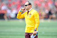 College Park, MD - SEPT 22, 2018: Minnesota Golden Gophers head coach P.J. Fleck on the sideline during game between Maryland and Minnesota at Capital One Field at Maryland Stadium in College Park, MD. The Terrapins defeated the Golden Bears 42-13 to move to 3-1 on the season. (Photo by Phil Peters/Media Images International)