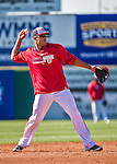 9 March 2014: Washington Nationals shortstop Ian Desmond warms up prior to a Spring Training game against the St. Louis Cardinals at Space Coast Stadium in Viera, Florida. The Nationals defeated the Cardinals 11-1 in Grapefruit League play. Mandatory Credit: Ed Wolfstein Photo *** RAW (NEF) Image File Available ***