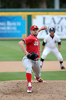 Max Knutson (20) of the Nebraska Cornhuskers pitches against the Long Beach State Dirtbags in the first game of a doubleheader at Blair Field on March 5, 2016 in Long Beach, California. Long Beach State defeated Nebraska, 1-0. (Larry Goren/Four Seam Images)