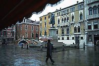 Venice:  A small piazza near San Marco on a rainy day.  Photo '83.
