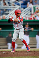 Williamsport Crosscutters second baseman Jesus Azuaje (3) at bat during a game against the Batavia Muckdogs on June 22, 2018 at Dwyer Stadium in Batavia, New York.  Williamsport defeated Batavia 9-7.  (Mike Janes/Four Seam Images)