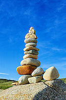 Rock cairn, Gay Head, Aquinnah, Martha's Vineyard, Massachusetts, USA