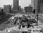 Pittsburgh PA:  View of the building of the City County building's foundation - 1915