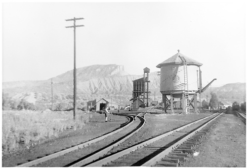 View from south of Durango yard, water tank &amp; coaling tower.<br /> D&amp;RGW  Durango, CO  Taken by Barriger, John W. III