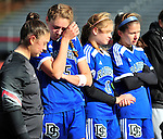 (Brockton MA 11/14/15) Dover-Sherborn players react after losing to Medway, during the division three south girls soccer final, Saturday, November 14, 2015, at Brockton High School. Herald Photo by Jim Michaud