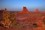 Sunset at the Mittens in Monument Valley