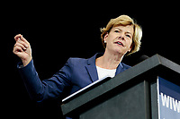U.S. Senator Tammy Baldwin of Wisconsin speaks at a Democratic rally before the midterm elections in October 2018 in Milwaukee, Wisconsin.