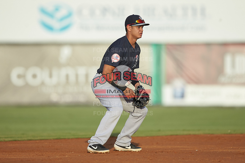 Pulaski Yankees shortstop Jesus Bastidas (39) on defense against the Burlington Royals at Burlington Athletic Stadium on August 25, 2019 in Burlington, North Carolina. The Yankees defeated the Royals 3-0. (Brian Westerholt/Four Seam Images)