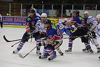 IJSHOCKEY: HEERENVEEN: IJsstadion Thialf, 02-01-2013, Eredivisie, Friesland Flyers - Eaters Geleen, eindstand 3-0, Tony Ras (#94 | Flyers), Luca Heutmekers (#22 | Eaters), Jerry Pollastrone (#39 | Flyers), ©foto Martin de Jong