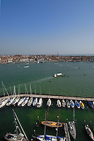 View of Venice from the bell tower of San Giorgio  Maggiore showing marina, yachts and lorry ferry.Venice, Italy.