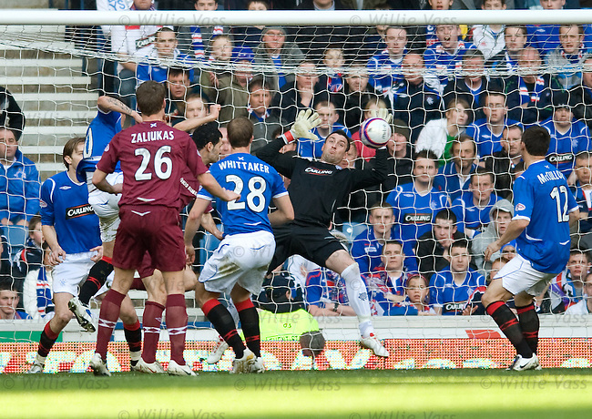 Christos Karipidis heads the first goal for Hearts past keeper Allan McGregor