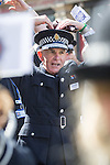 """© Joel Goodman - 07973 332324 . 23/08/2014 .  Manchester , UK . The Chief Constable of Greater Manchester Police , SIR PETER FAHY , dancing to the YMCA , played by the Police Band . The parade through Manchester City Centre . Manchester Pride """" Big Weekend """" in Manchester """" today ( 23rd August 2014 ) . Photo credit : Joel Goodman"""