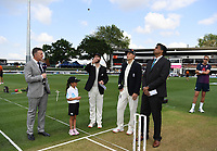 29th November 2019, Hamilton, New Zealand;  Sky TV's Craig Cumming with Captains Kane Williamson and Joe Root with ANZ coin toss competition winner and match referee Javagal Srinath day 1 of the 2nd international cricket test match between New Zealand and England at Seddon Park, Hamilton, New Zealand. Friday 29 November 2019