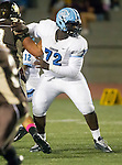 Torrance, CA 10/02/15 - George Hayes (Carson #72) in action during the Carson-West Torrance CIF varsity football game at West Torrance High School.  Carson defeated West Torrance 34-27.