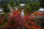 People walking the path from The Sanmon main gate towards the Hatto hall of Nanzen-ji Zen Buddhist temple, colorful aerial autumn scenery in Sakyo-ku, Kyoto, Japan 2017 Image © MaximImages, License at https://www.maximimages.com
