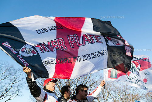 River Plate fans wave flags to support their soccer team in Yoyogi Park on December 19, 2015, Tokyo, Japan. Thousands of Argentine soccer fans came to Tokyo to support their team on the final match (FC Barcelona vs River Plate) in the FIFA Club World Cup Japan 2015 to be held on December 20 in Yokohama. (Photo by Rodrigo Reyes Marin/AFLO)