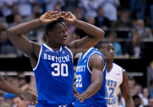 Kentucky Wildcats forward Julius Randle (30) leagues after a timeout during the UK men's basketball vs. North Carolina at the Dean Smith Center in Chapel Hill, N.C., on Saturday, December 14, 2013. Photo by Emily Wuetcher | Staff