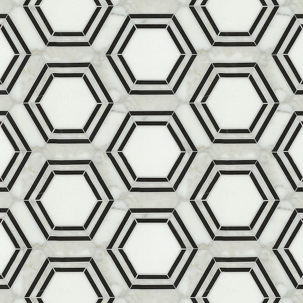 Pembroke, a waterjet stone mosaic, shown in Calacatta Tia, Thassos and Nero Marquina honed, is part of the Silk Road Collection by Sara Baldwin for New Ravenna Mosaics. <br />