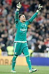 Real Madrid's Keylor Navas celebrates goal during La Liga match. March 20,2016. (ALTERPHOTOS/Acero)