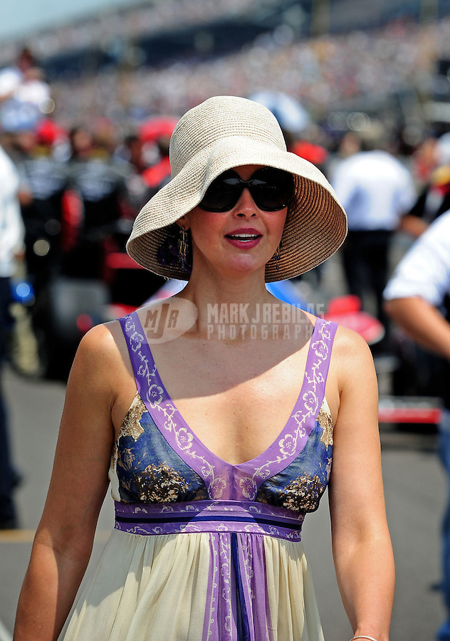 May 30, 2010; Indianapolis, IN, USA; Ashley Judd the wife of IndyCar Series driver Dario Franchitti (not pictured) prior to the Indianapolis 500 at the Indianapolis Motor Speedway. Mandatory Credit: Mark J. Rebilas-