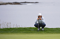 Tommy Fleetwood (ENG) looks over his putt on 18 during round 4 of the 2019 US Open, Pebble Beach Golf Links, Monterrey, California, USA. 6/16/2019.<br /> Picture: Golffile | Ken Murray<br /> <br /> All photo usage must carry mandatory copyright credit (© Golffile | Ken Murray)