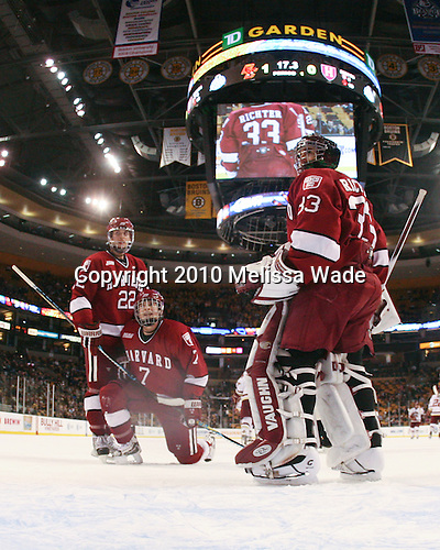 David Valek (Harvard - 22), Chad Morin (Harvard - 7), Kyle Richter (Harvard - 33) - The Boston College Eagles defeated the Harvard University Crimson 6-0 on Monday, February 1, 2010, in the first round of the 2010 Beanpot at the TD Garden in Boston, Massachusetts.