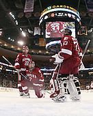 David Valek (Harvard - 22), Chad Morin (Harvard - 7), Kyle Richter (Harvard - 33) - The Boston College Eagles defeated the Harvard University Crimson 6-0 on Monday, February 1, 2010, in the first round of the 2010 Beanpot at the TD Garden in Boston, Massachusetts.