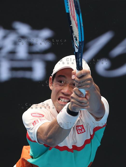 17th January 2019, Melbourne Park, Melbourne, Australia; Australian Open Tennis, day 4; Kei Nishiroki of Japan returns the ball during the match against Ivo Karlovic of Croatia