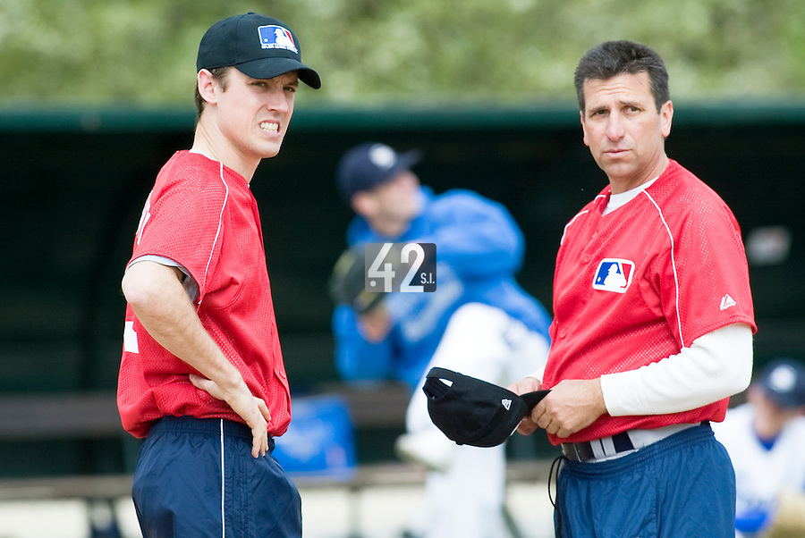 18 April 2006: Jason Holowaty is seen talking to another MLB representative during the third of seven 2006 MLB European Academy Try-out Sessions throughout Europe, at Stade Pershing, INSEP, near Paris, France. Try-out sessions are run by members of the Major League Baseball Scouting Bureau with assistance from MLBI staff.
