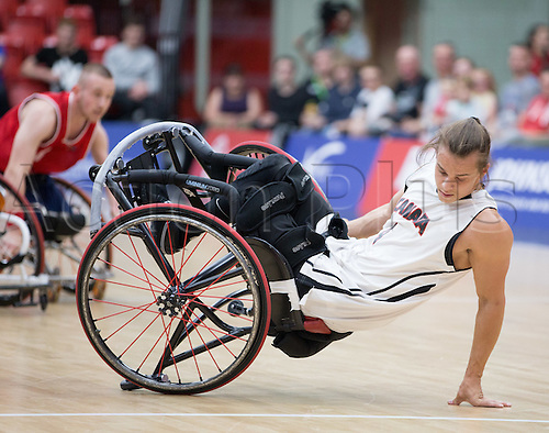 03.07.2016. Leicester Sports Arena, Leicester, England. Continental Clash Wheelchair Basketball, England versus Canada. Nik Goncin (CAN) loses balance as he turns
