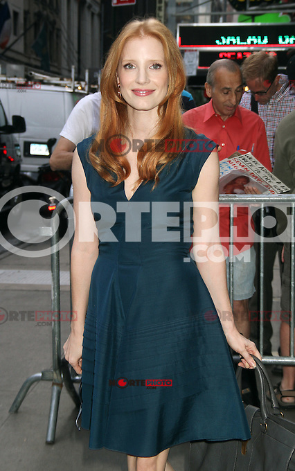 NEW YORK, NY - AUGUST 21, 2012: Jessica Chastain at Good Morning America to talk about her  new movie Lawless in New York City. &copy; RW/MediaPunch Inc. /NortePhoto.com<br />