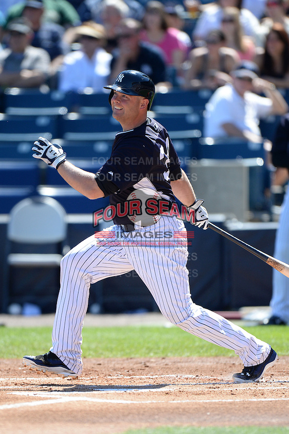 Catcher Brian McCann (34) of the New York Yankees during a spring training game against the Philadelphia Phillies on March 1, 2014 at Steinbrenner Field in Tampa, Florida.  New York defeated Philadelphia 4-0.  (Mike Janes/Four Seam Images)