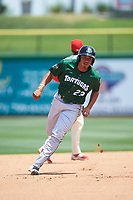 Daytona Tortugas first baseman Avain Rachal (23) running the bases during a game against the Clearwater Threshers on April 20, 2016 at Bright House Field in Clearwater, Florida.  Clearwater defeated Daytona 4-2.  (Mike Janes/Four Seam Images)