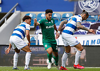 11th July 2020; The Kiyan Prince Foundation Stadium, London, England; English Championship Football, Queen Park Rangers versus Sheffield Wednesday; Massimo Luongo of Sheffield Wednesday being challenged by Geoff Cameron and Luke Amos of Queens Park Rangers