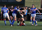 3rd February 2019, Trailfinders Sports Ground, London, England; Betfred Super League rugby, London Broncos versus Wakefield Trinity; Eddie Battye of London Broncos being tackled Bill Tupou and Craig Huby of Wakefield Trinity