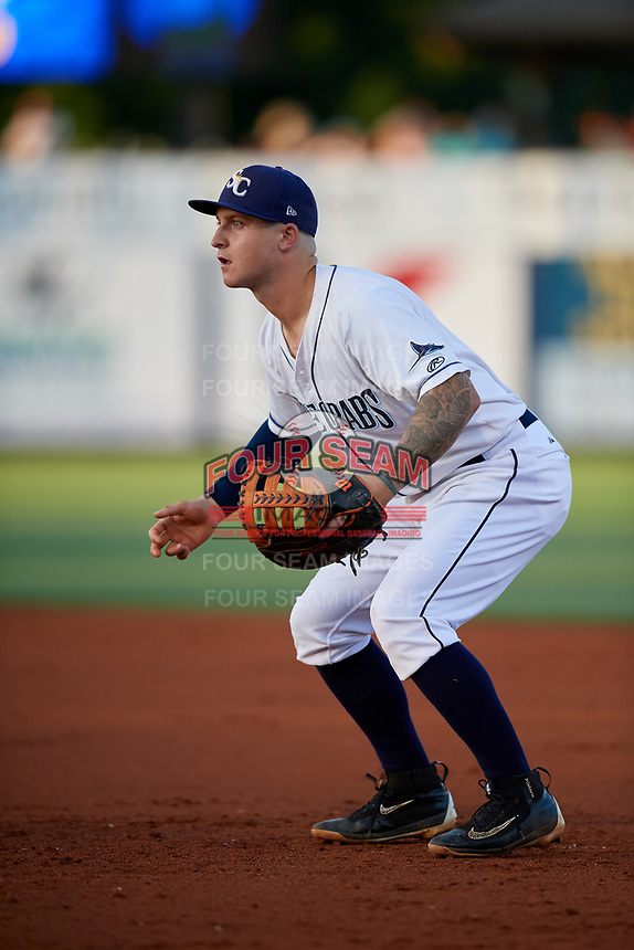 Charlotte Stone Crabs first baseman Robbie Tenerowicz (1) during a game against the Palm Beach Cardinals on April 20, 2018 at Charlotte Sports Park in Port Charlotte, Florida.  Charlotte defeated Palm Beach 4-3.  (Mike Janes/Four Seam Images)