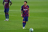 23rd June 2020, Camp Nou, Barcelona, Spain; La Liga Football league, FC Barcelona versus Athletico Bilbao;  Leo Messi lines up a direct free kick shot on goal