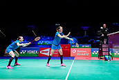 18th March 2018, Arena Birmingham, Birmingham, England; Yonex All England Open Badminton Championships; Kamilla Rytter Juhl (DEN) and Christinna Pedersen (DEN) serve in the womens doubles  final against Yuki Fukushima (JPN) and Sayaka Hirota (JPN)