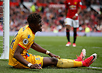 Wilfried Zaha of Crystal Palace injured during the English Premier League match at the Old Trafford Stadium, Manchester. Picture date: May 21st 2017. Pic credit should read: Simon Bellis/Sportimage