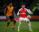 Tom Huddlestone of Hull City with Olivier Giroud of Arsenal  - English FA Cup - Hull City vs Arsenal - The KC Stadium - Hull - England - 8th March 2016 - Picture Simon Bellis/Sportimage