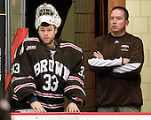 Anthony Borelli (Brown - 33), Brian Daigneault (Brown - Trainer) - The Harvard University Crimson defeated the visiting Brown University Bears 3-2 on Friday, November 2, 2012, at the Bright Hockey Center in Boston, Massachusetts.
