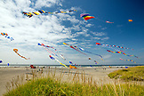 USA, Washington State, Long Beach Peninsula, large kites fly in the wind at the International Kite Festival