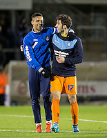 Max Kretzschmar of Wycombe Wanderers with ex Wycombe player Paris Cowan-Hall of Bristol Rovers during the Sky Bet League 2 rearranged match between Bristol Rovers and Wycombe Wanderers at the Memorial Stadium, Bristol, England on 1 December 2015. Photo by Andy Rowland.