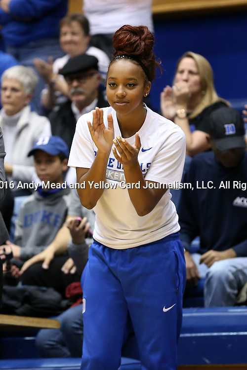 07 January 2016: Duke's Lexie Brown. The Duke University Blue Devils hosted the Wake Forest University Demon Deacons at Cameron Indoor Stadium in Durham, North Carolina in a 2015-16 NCAA Division I Women's Basketball game. Duke won the game 95-68.