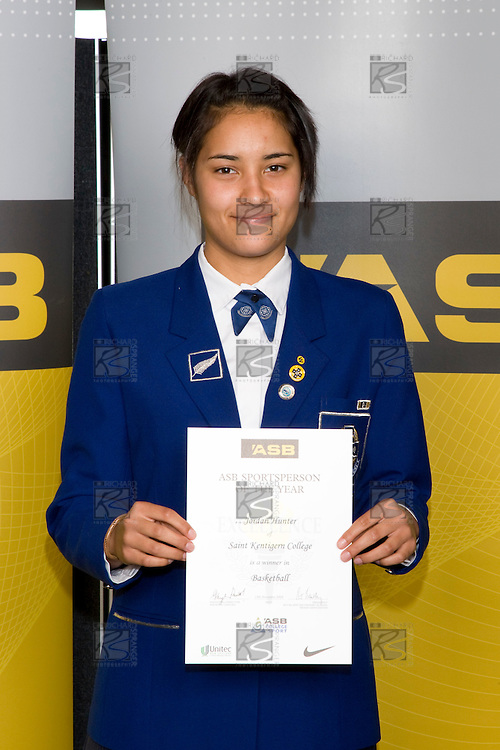 Girls Basketball winner Jordan Hunter from Saint Kentigern College. ASB College Sport Young Sportperson of the Year Awards 2008 held at Eden Park, Auckland, on Thursday November 13th, 2008.