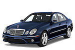 Front three quarter view of a blue 2008 Mercedes E63 Sedan.