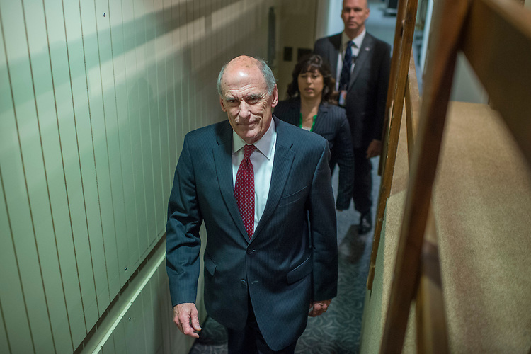 "UNITED STATES - MAY 11: Director of National Intelligence Daniel Coats, arrives to testify before for a Senate (Select) Intelligence Committee hearing in Hart Building titled ""World Wide Threats"" on May 11, 2017. (Photo By Tom Williams/CQ Roll Call)"