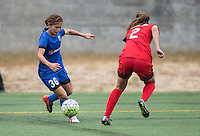 Seattle, WA - Saturday Aug. 27, 2016: Nahomi Kawasumi, Katherine Reynolds during a regular season National Women's Soccer League (NWSL) match between the Seattle Reign FC and the Portland Thorns FC at Memorial Stadium.